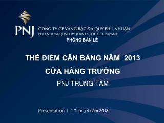 THẺ ĐIỂM CÂN BẰNG NĂM  2013 CỬA HÀNG TRƯỞNG  PNJ TRUNG TÂM