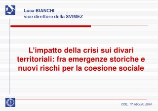 Luca BIANCHI vice direttore della SVIMEZ