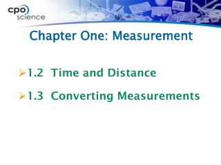 Chapter One: Measurement
