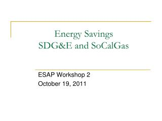 Energy Savings SDG&E and SoCalGas