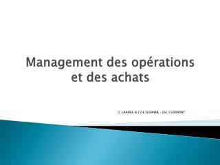 Management des op�rations  et des achats