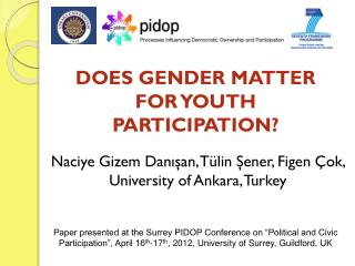 DOES GENDER MATTER FOR YOUTH PARTICIPATION ?
