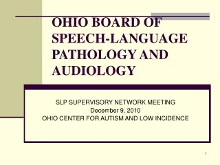 OHIO BOARD OF SPEECH-LANGUAGE PATHOLOGY AND AUDIOLOGY