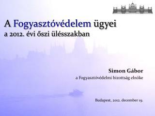 Simon Gábor a Fogyasztóvédelmi bizottság elnöke Budapest, 2012. december 19.