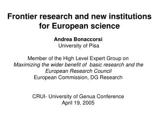 Frontier research and new institutions for European science