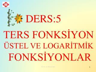 TERS FONKSİYON ÜSTEL VE LOGARİTMİK  FONKSİYONLAR