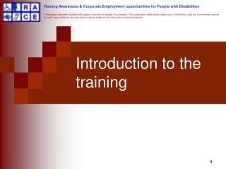 Introduction to the training