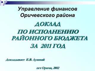 Управление финансов Оричевского района
