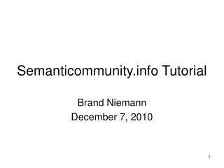 Semanticommunity Tutorial