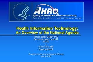 Health Information Technology: An Overview of the National Agenda