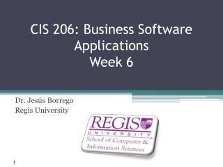 CIS 206: Business  Software Applications Week 6