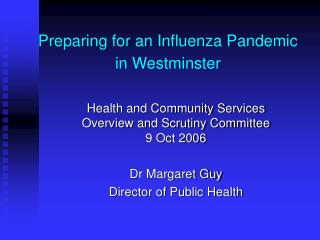Preparing for an Influenza Pandemic in Westminster