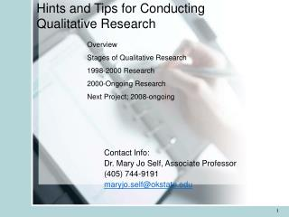 Hints and Tips for Conducting Qualitative Research