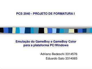 PCS 2040 - PROJETO DE FORMATURA I
