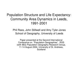 Population Structure and Life Expectancy: Community Area Dynamics in Leeds, 1991-2001
