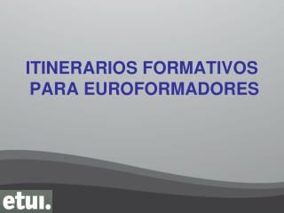 ITINERARIOS FORMATIVOS  PARA EUROFORMADORES