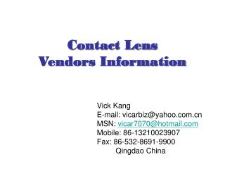 Contact Lens Vendors Information