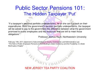 Public Sector Pensions 101: The Hidden Taxpayer 'Put'