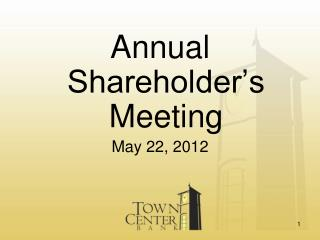 Annual Shareholder's Meeting May 22, 2012