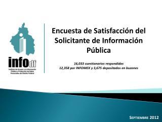 Encuesta de Satisfacción del Solicitante de Información Pública 16,033 cuestionarios respondidos