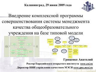 Гриценко Анатолий Ректор Евразийского открытого института  eoi.ru