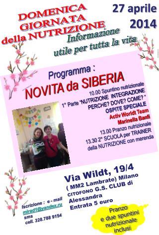 """Programma : NOVITA da SIBERIA 10.00 Spuntino nutrizionale 1° Parte """" NUTRIZIONE  INTEGRAZIONE"""