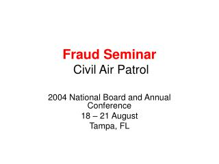 Fraud Seminar  Civil Air Patrol
