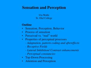 "Outline Sensation, Perception, Behavior Process of sensation Perceived vs. ""real"" world"
