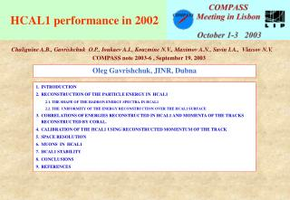 HCAL1 performance in 2002