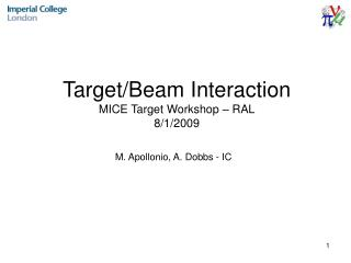 Target/Beam Interaction MICE Target Workshop – RAL 8/1/2009