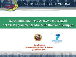 Iter Amministrativo d'Ateneo per i progetti  del VII Programma Quadro della Ricerca e Sviluppo