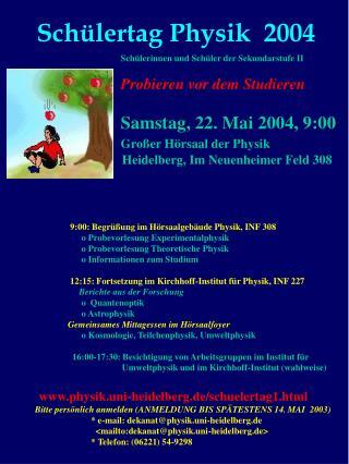 Schülertag Physik  2004