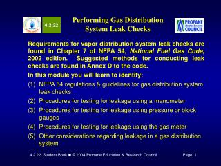 Performing Gas Distribution System Leak Checks