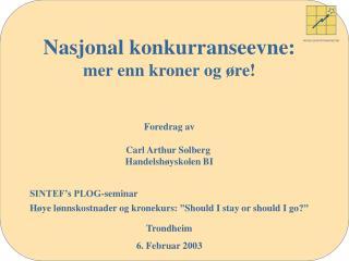 NORSK EKSPORTBAROMETER