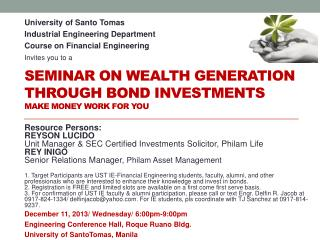 Seminar on Wealth Generation through Bond Investments Make Money Work for you