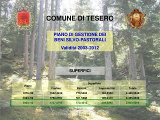 PIANO DI GESTIONE DEI BENI SILVO-PASTORALI Validit� 2003-2012