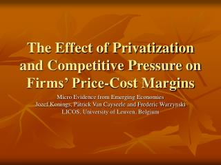 The Effect of Privatization and Competitive Pressure on Firms' Price-Cost Margins