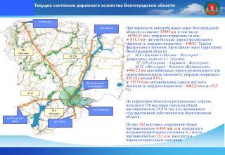 Протяженность автомобильных дорог Волгоградской области составляет 25995 км , в том числе: