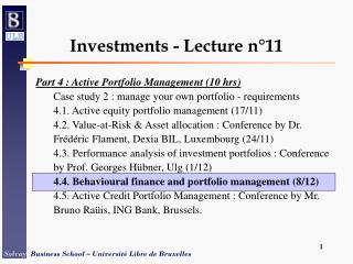 Investments - Lecture n°11