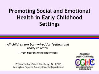 Promoting Social and Emotional Health in Early Childhood Settings