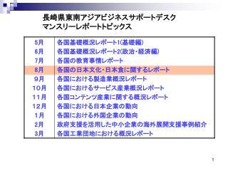 長崎県東南アジアビジネスサポートデスク マンスリーレポートトピックス