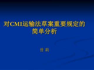 对 CMI 运输法草案重要规定的简单分析