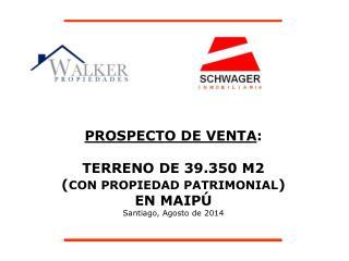 PROSPECTO DE VENTA : TERRENO DE 39.350 M2  ( CON PROPIEDAD PATRIMONIAL )  EN MAIPÚ