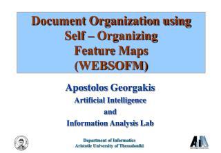 Document Organization using  Self – Organizing Feature Maps (WEBSOFM)
