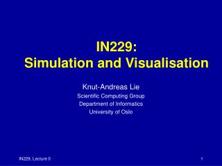 IN229: Simulation and Visualisation