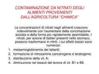 """CONTAMINAZIONE DA NITRATI DEGLI ALIMENTI PROVENIENTI DALL'AGRICOLTURA """"CHIMICA"""""""