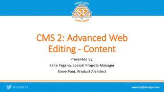 CMS 2: Advanced Web Editing - Content