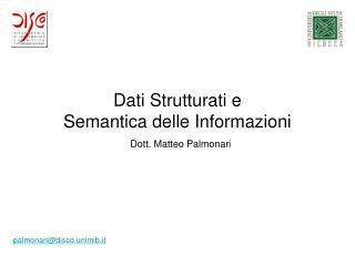 Dati Strutturati e  Semantica delle Informazioni