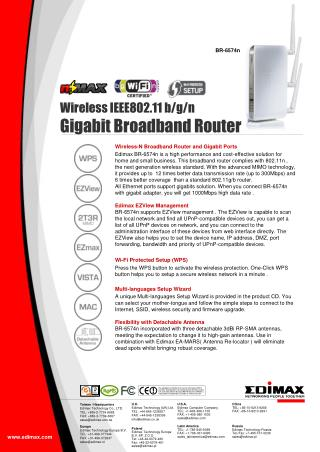 Wireless  IEEE802.11  b/g/ n  Gigabit Broadband Router