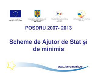 POSDRU 2007- 2013 Scheme de Ajutor de Stat  şi de minimis